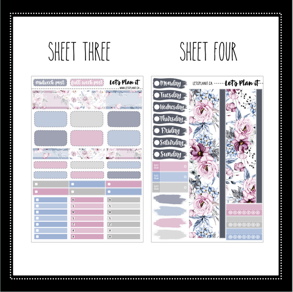 Elsa (floral) - weekly kit for vertical layout | planner stickers
