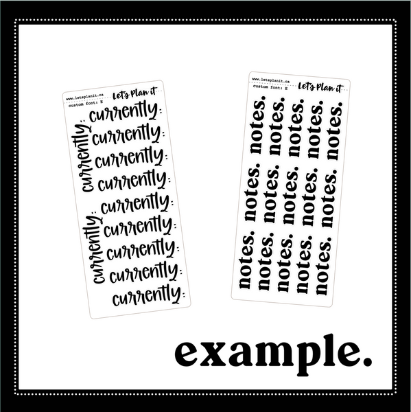 new: LARGE custom scripts / you choose the font | Planner stickers | Stickers for Planners
