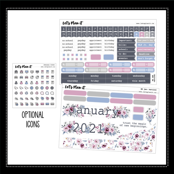 "January monthly view kit for 7x9"" vertical planner 