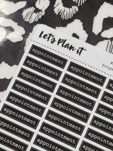 Appointment | monochrome bar label script | Planner stickers | Stickers for Planners