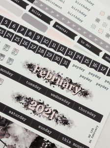 February | B6 Monthly layout | Planner Stickers
