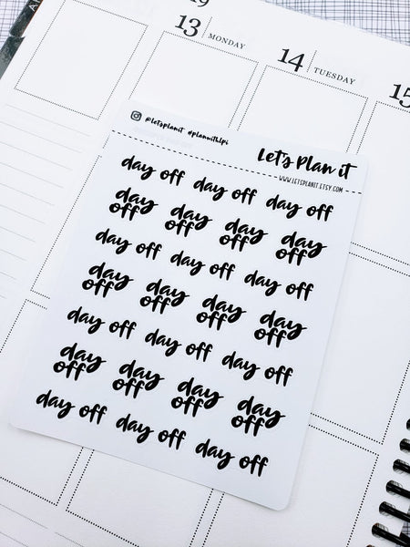 Day Off | monochrome cursive script planner stickers
