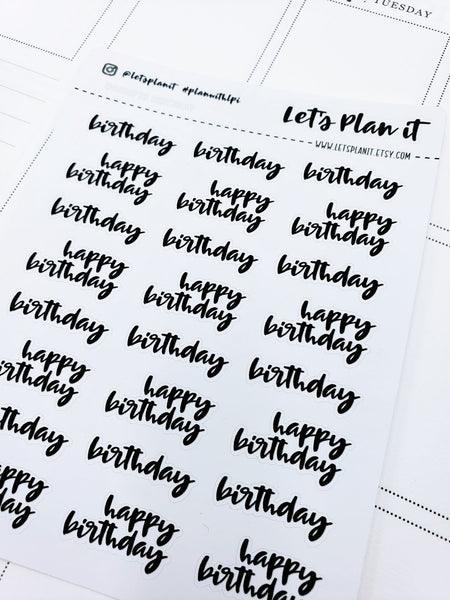Birthday | monochrome cursive script | Planner stickers | Stickers for Planners