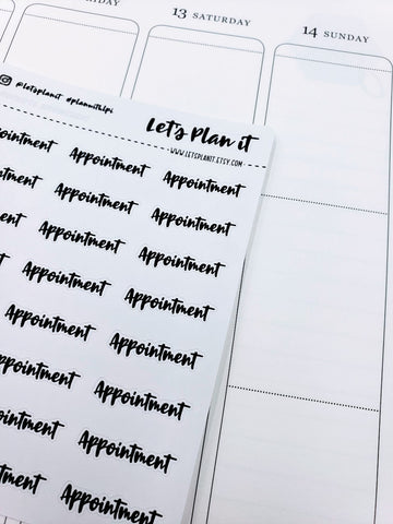 Appointment | monochrome cursive script | Planner stickers | Stickers for Planners