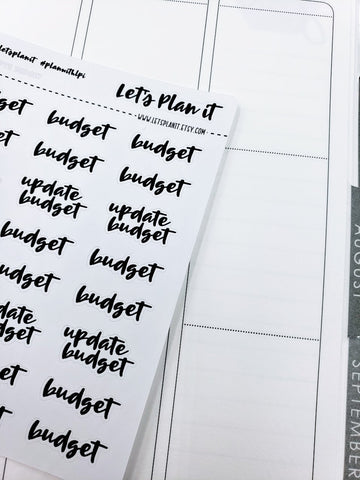 Budget/ Update Budget | monochrome cursive script | Planner stickers | Stickers for Planners