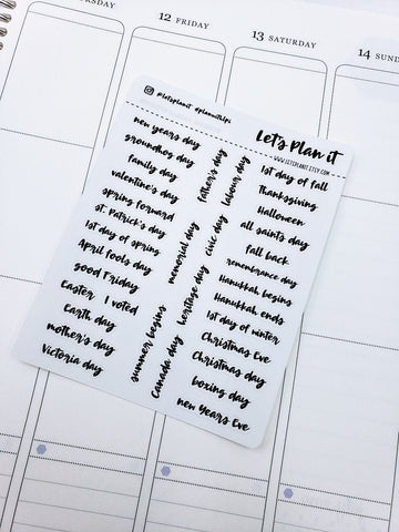 Canadian Holidays | monochrome cursive script | Planner stickers | Stickers for Planners