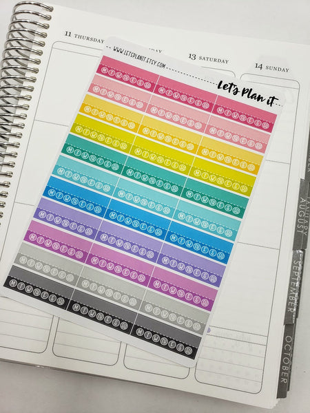 Weekly task/ habit tracking flags | Rainbow variety | Planner stickers