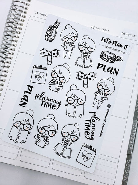 Cora - Plan/ Planning | pick your size monochrome character