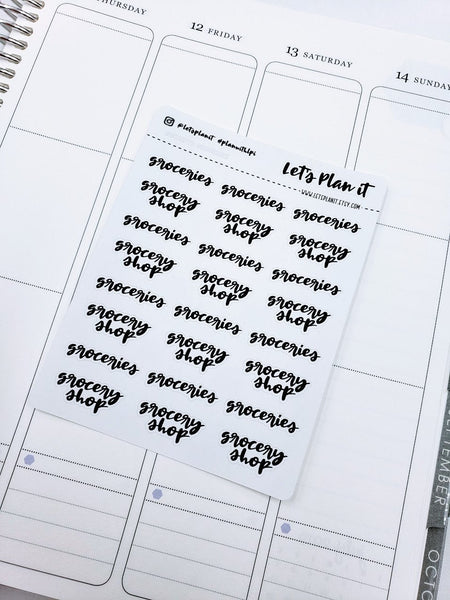 Grocery shop/ Groceries | monochrome cursive script | Planner stickers | Stickers for Planners