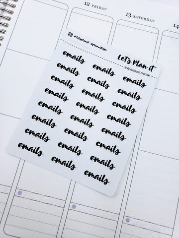 Emails/ work | monochrome cursive script | Planner stickers | Stickers for Planners