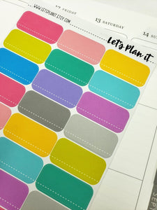 Colourful Half Box- dashed white line | Rainbow variety | Planner stickers
