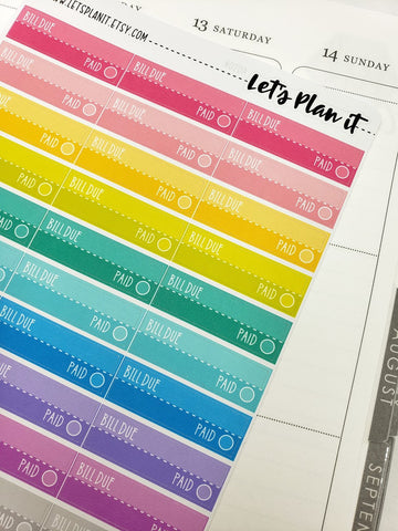 Bill due | Rainbow variety | Planner Stickers