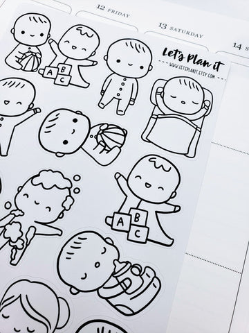 Baby Character | Jumbo monochrome character/color your own | Planner stickers