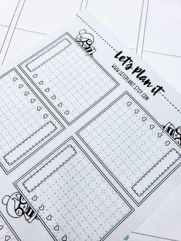 CORA Peek a boo checklist boxes | Monochrome full box