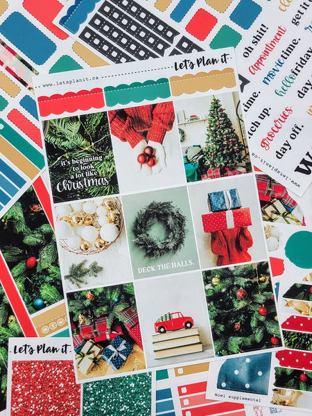 Noel (christmas) -  weekly kit for vertical layout | planner stickers