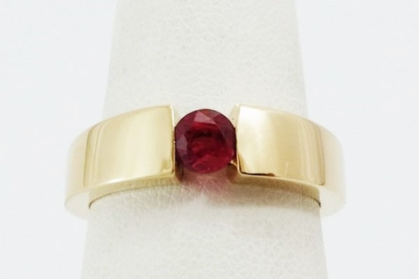 bague moderne or jaune rubis