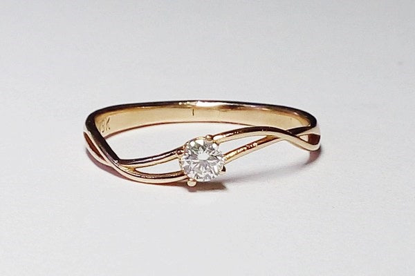 bague solitaire en or rose 18k