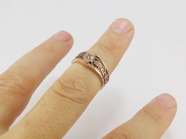 grosse bague or rose 18k