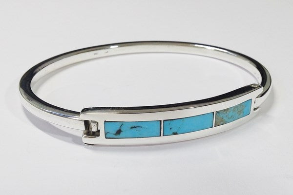 Silver bracelet with turquoise stone for men