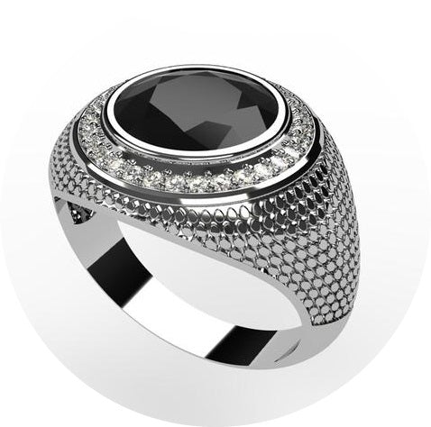 18k white gold signet ring