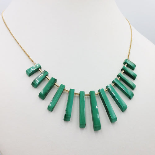 Collier malachite en or