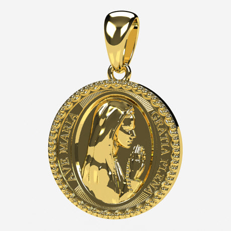 Médaille Vierge - Or jaune 18 carats