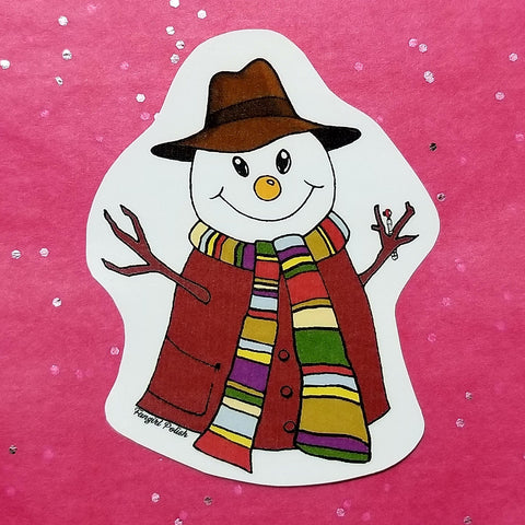 Fourth Doctor Snowman Wholidays Sticker