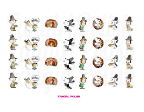Peanuts Thanksgiving Water Slide Nail Decals