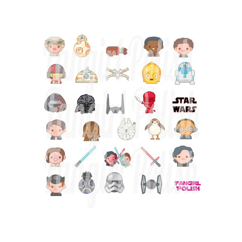 Star Wars Sequel Trilogy Water Slide Nail Decals