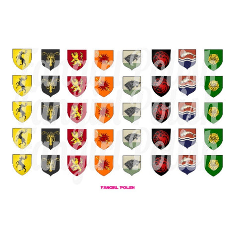 Game of Thrones House Crests Water Slide Nail Decals