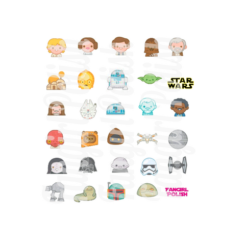 Star Wars Originial Trilogy Water Slide Nail Decals