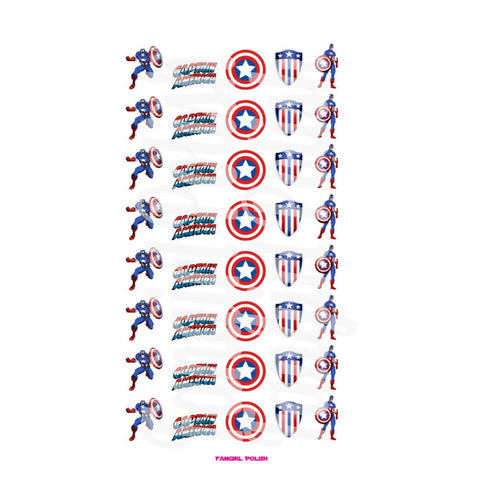 Captain America Water Slide Nail Decals