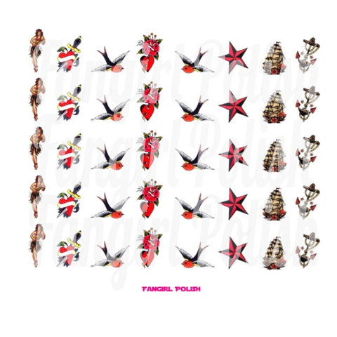 Sailor Jerry Water Slide Nail Decals