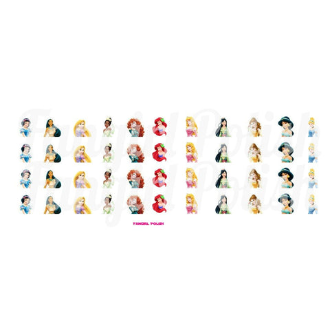 The Princesses Water Slide Nail Decals