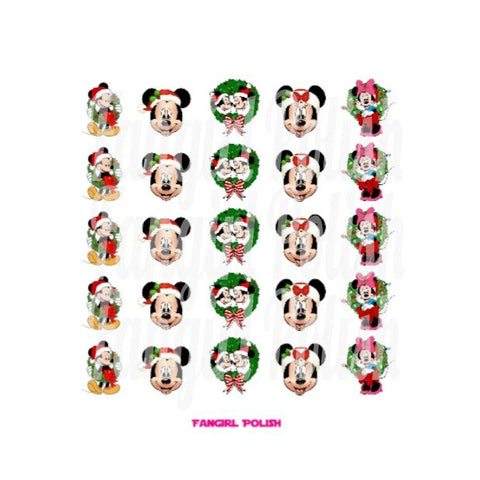 Mickey & Minnie Holiday Water Slide Nail Decals