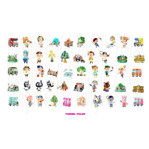 Animal Crossing Water Slide Nail Decals