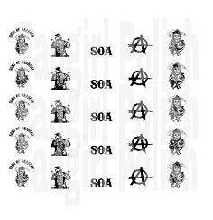 Sons Of Anarchy Water Slide Nail Decals