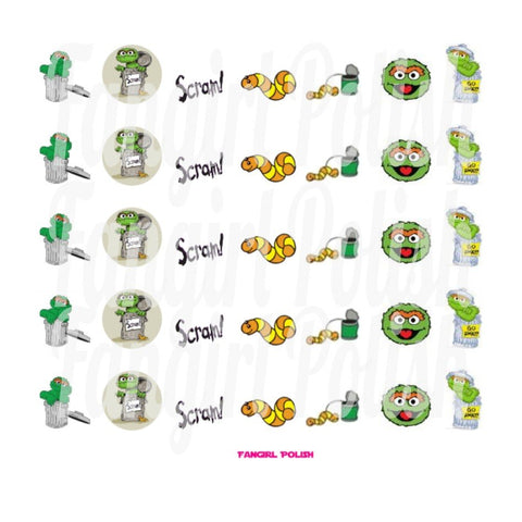 Oscar the Grouch and Wormy Water Slide Nail Decals