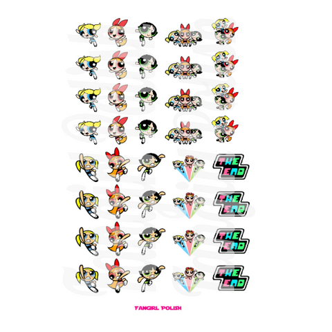 Powerpuff Girls Water Slide Nail Decals