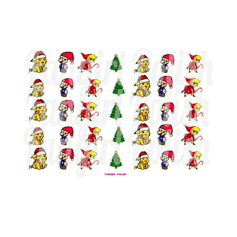 Gamer Girl Christmas Water Slide Nail Decals