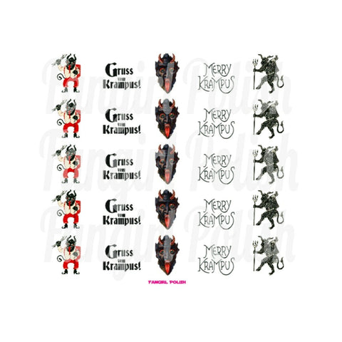 Krampus Water Slide Nail Decals