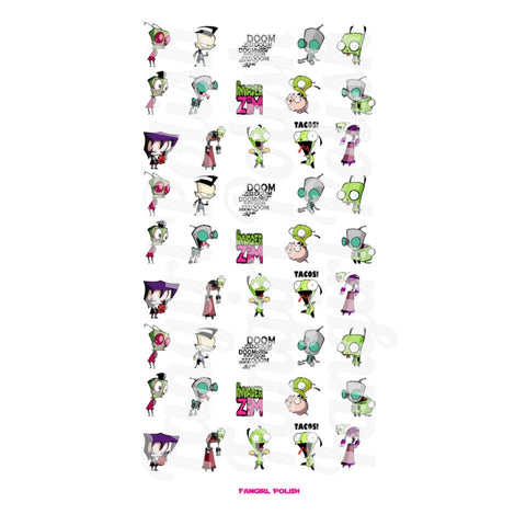 Invader Zim Water Slide Nail Decals