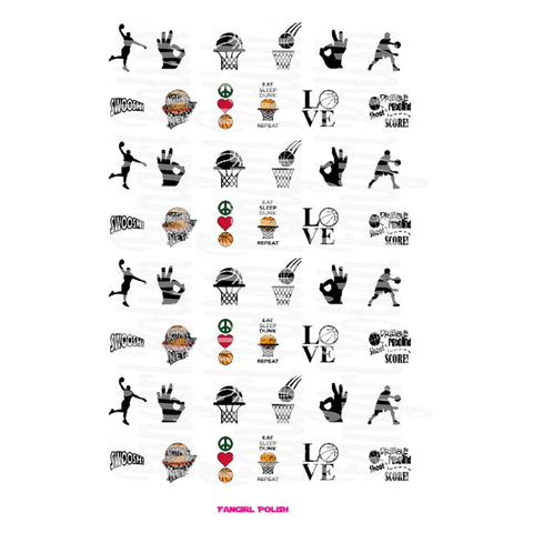 Basketball Water Slide Nail Decals