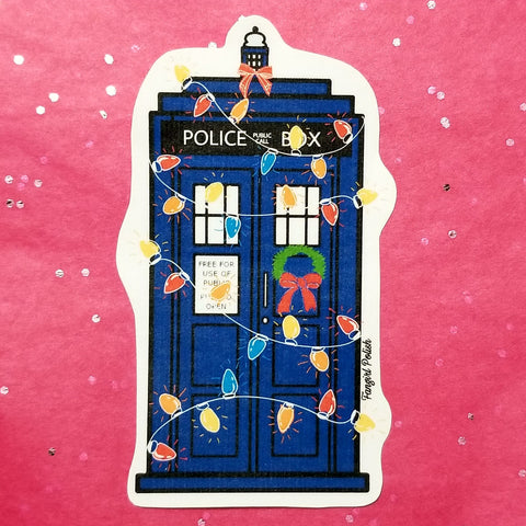 Decorated Tardis Wholidays Sticker