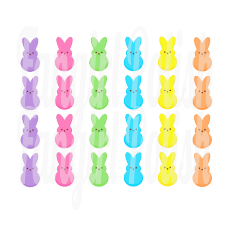 Peep Bunnies Water Slide Nail Decals
