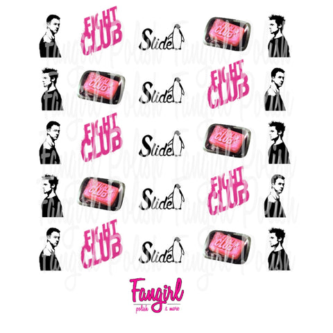 Fight Club Water Slide Nail Decals