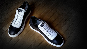Checkered floor inspired Italian made athletic shoes