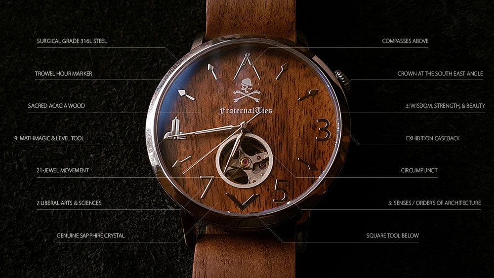 FraternalTies 357: Steel and Acacia Automatic Freemasons Watch