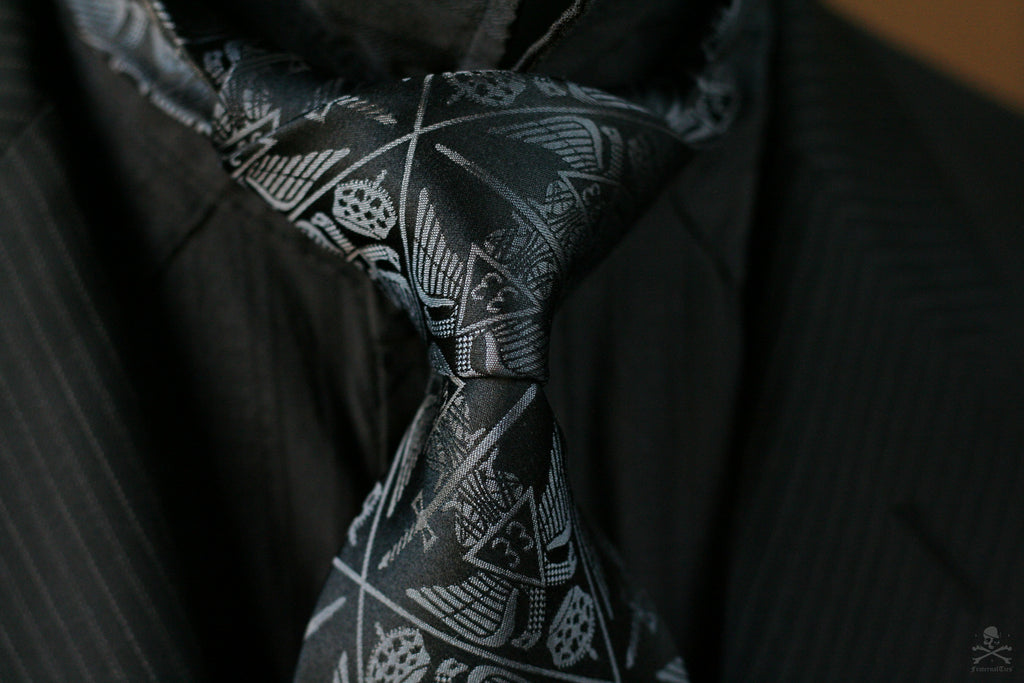 FraternalTies 33° Scottish Rite Freemasons Gray & Black Silk Necktie