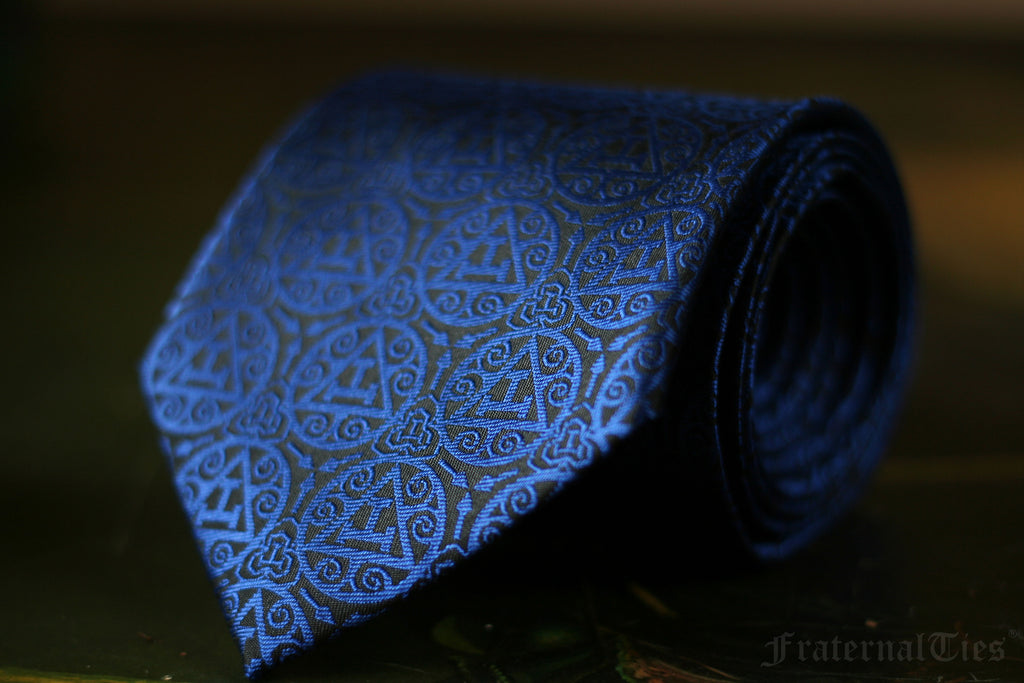 FraternalTies Royal Arch Masonry Triple Tau Masonic Necktie Midnight Blue Designed by Freemason for Freemasons